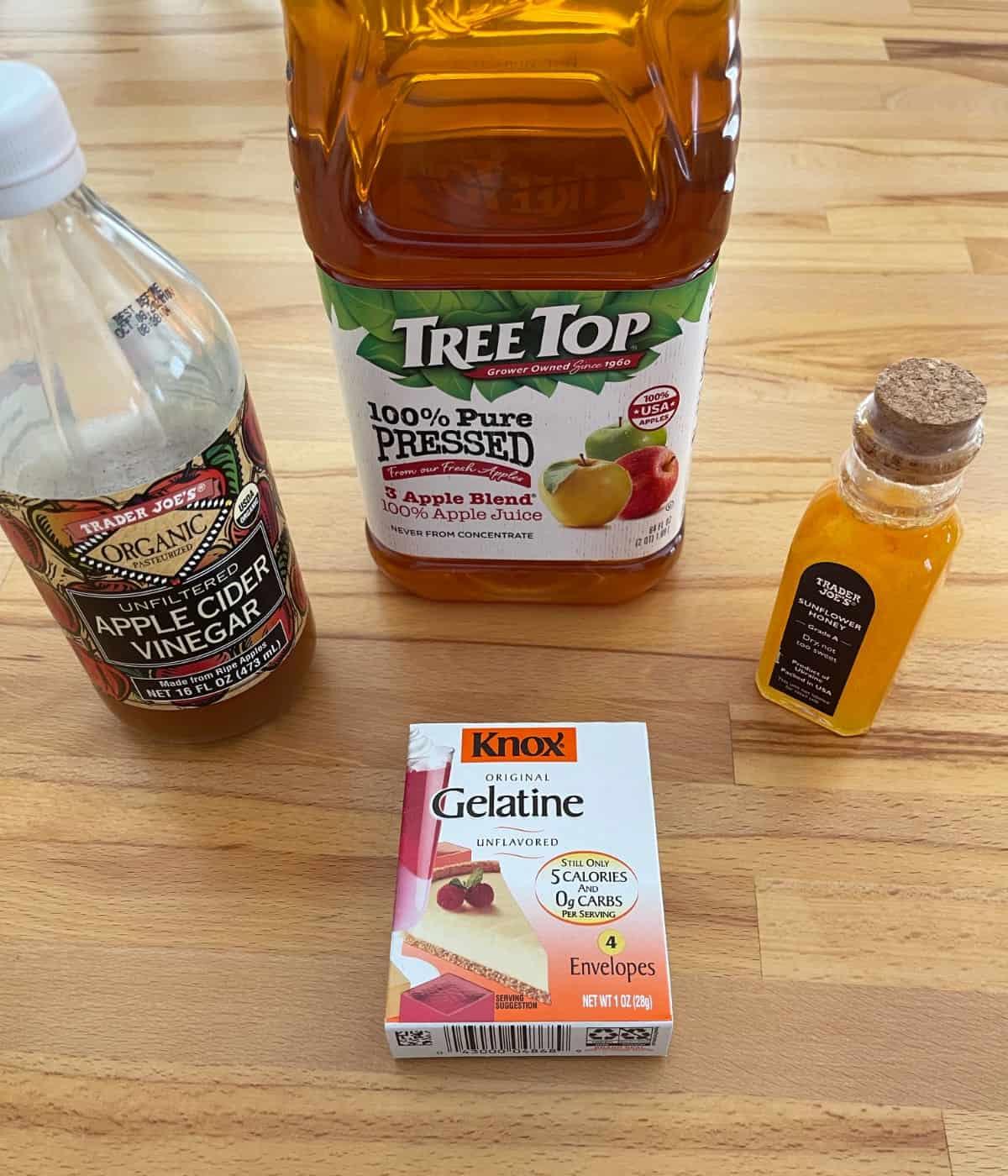Apple cider vinegar, apple juice, honey and package of Knox gelatin.